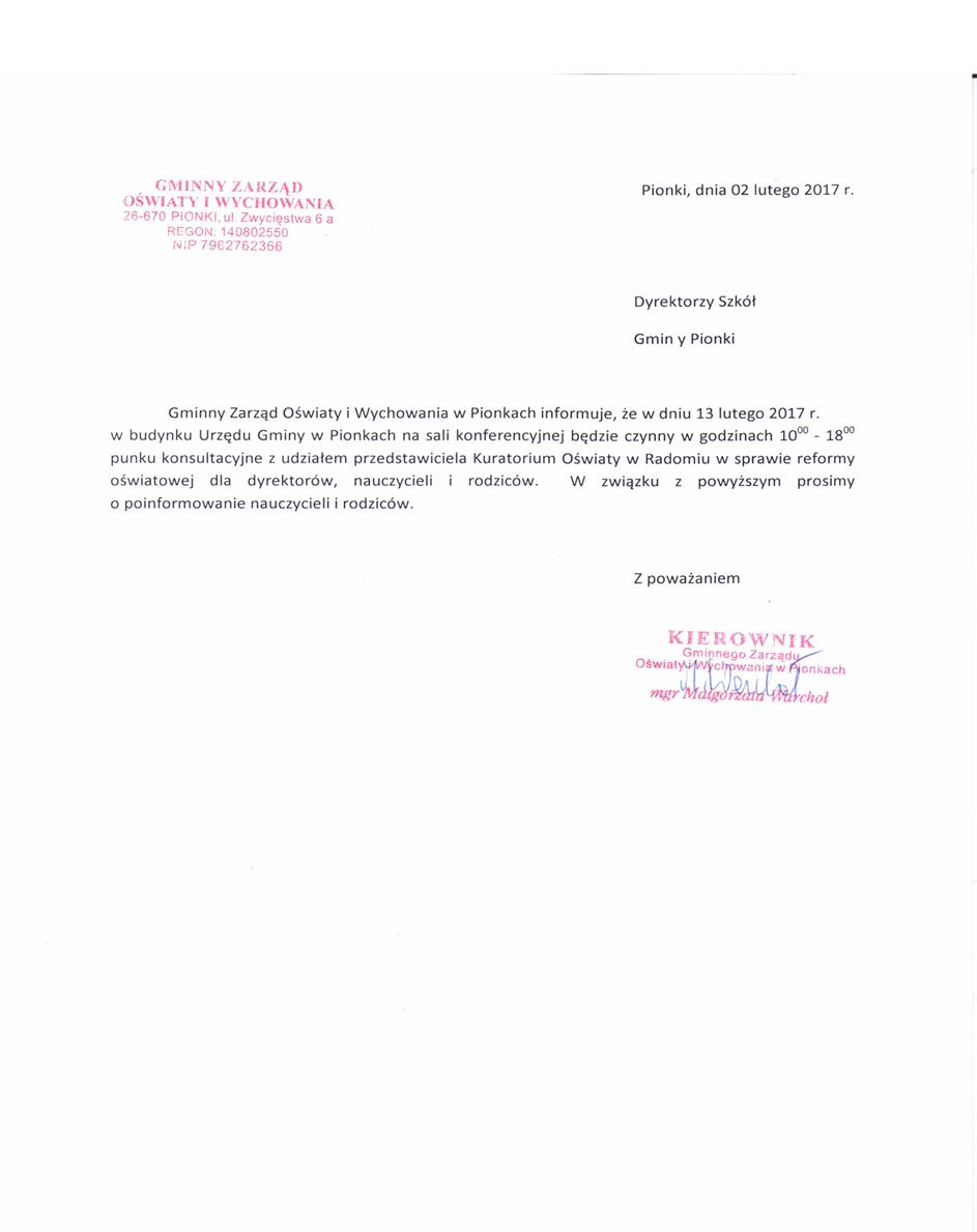 komunkat Konsulatacje Kuratorium